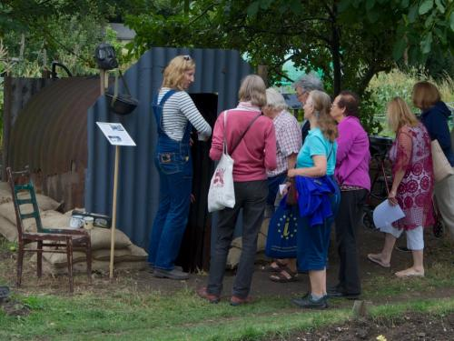 people visiting our Anderson Shelter