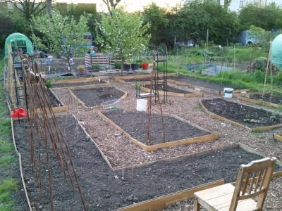 Another photo showing the completed layout, before any planting