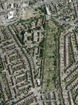 An updated aerial view from 2013 shows the reduced size of the allotment with the western two thirds given over to housing and only the eastern third remaining as the allotment we know today
