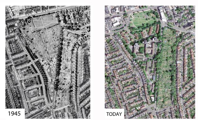 Map showing the Ealing Dean allotments in 1945 and today
